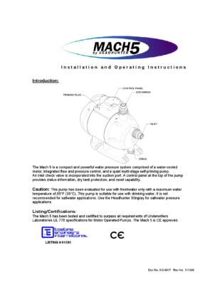 Fresh Water Pump 110V HEADHUNTER Mach 5 Installation Instructions