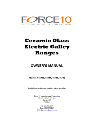 Force 10 Ceramic Glass Electric Range Manual