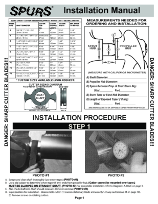 Spurs shaft Cutter Installation Guide